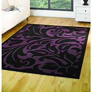 Element Warwick Rug - Black & Purple - Polypropylene - W 120cm x L 160cm from Flair Rugs