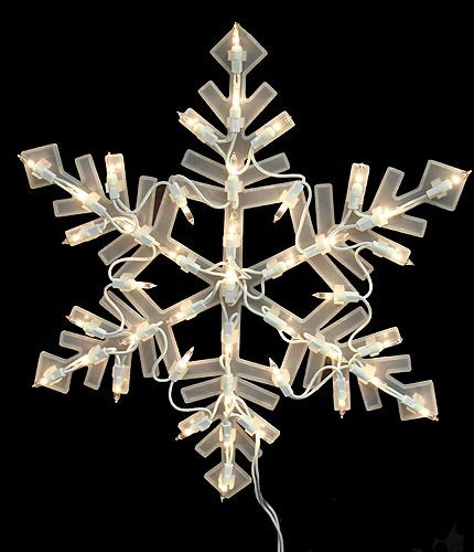"16"" Lighted Snowflake Christmas Window Silhouette Decoration"