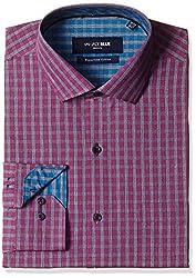 Jadeblue Men's Formal Shirt (1116204015PYJ2_15PY_40_Pink and Grey)