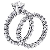 4.60 CT TW Brilliant Cut Diamond Engagement Bridal Set in 14K White Gold U-Prong Eternity Setting