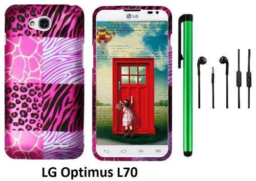 Lg Optimus L70 (Ms323) Premium Pretty Design Protector Hard Cover Case + 3.5Mm Stereo Earphones + 1 Of New Assorted Color Metal Stylus Touch Screen Pen (Pink Exotic Skins : Leopard & Zebra & Block)