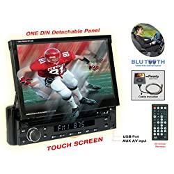 See Nitro BMWX-4768 7-Inch Touchscreen Monitor One Din In-Dash DVD CD AM FM USB SD Bluetooth Receiver Fully Motorized, Detachable Front Panel Details
