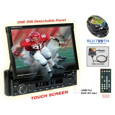 Nitro BMWX-4768 7-Inch Touchscreen Monitor One Din In-Dash DVD CD AM FM USB SD Bluetooth Receiver Fully Motorized, Detachable Front Panel