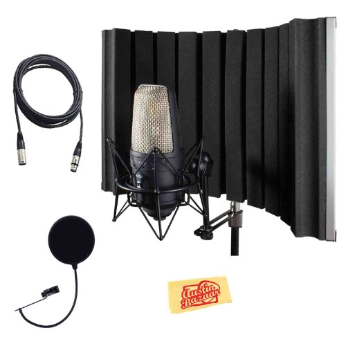 Cad As22 Acousti-Shield 16-Guage Foldable Stand Mounted Acoustic Enclosure Bundle With Pop Filter, Mic Cable, And Polishing Cloth