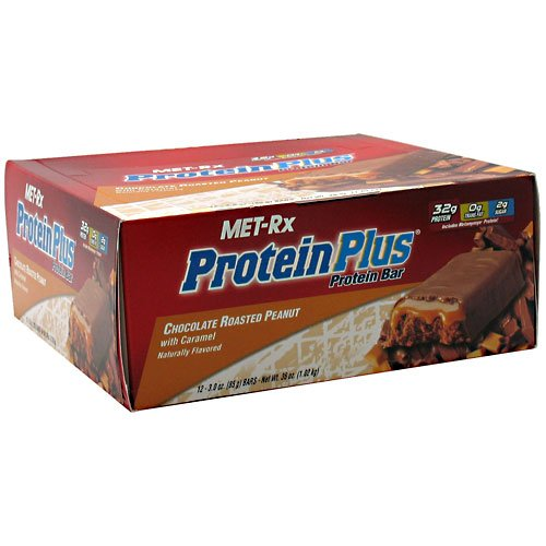 Met-RX Protein Plus Replacement Bar Chocolate Roasted Peanuts with Caramel, 12 Count