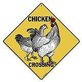"Chicken Crossing 12"" X 12"" Aluminum Sign"