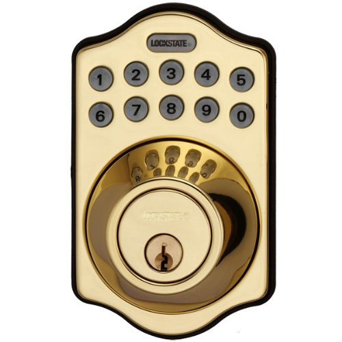 Lockstate Connect Wifi Internet Controlled Remote Access Lock, Electronic Deadbolt Keypad Smart Door Lock, Polished Brass Color