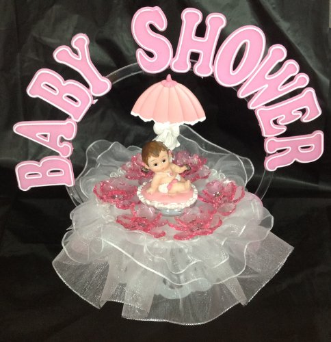 Girl Baby Under Umbrella And An Arch Shower Cake Top Decoration Centerpiece front-884478