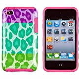 DandyCase 2in1 Hybrid High Impact Hard Tri Color Leopard Pattern + Pink Silicone Case Cover For Apple iPod Touch 4 (4th generation) + DandyCase Screen Cleaner