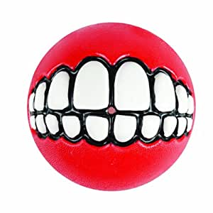 Rogz Grinz Ball Dog Toy, Medium, Red