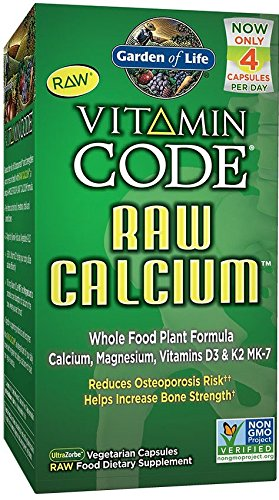 Garden of Life Vitamin Code Raw Calcium - Vegetarian Whole Food Supplement for Bone Health, 120 Capsules