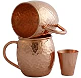 Set of 2 Pure Copper Mugs with Copper Shot Glass - Two 16 Oz Copper Moscow Mule Mug - Solid Copper Hammered Barrel Mugs - Copper Cups with No Inner Lining