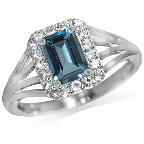 1.14ct. Natural London Blue & White Topaz 925 Sterling Silver Cocktail Ring Size 10