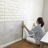 【ノーブランド品】レンガ調 ブリック壁紙シール (厚い)ホワイト 70cm×77cm 【1枚】