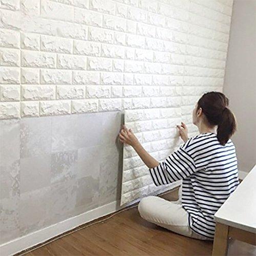 SOOMJブリック タイル レンガ 壁紙シール 70cm×77cm ブリックステッカー 軽量レンガシール 壁紙シール アクセントクロス ウォールシール はがせる 壁シール (ホワイト)