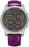 Phosphor MD018L Appear Purple Crystal Watch with Purple Gloss Leather Strap