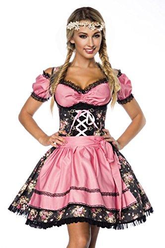 DIRNDLINE 3-tlg. Mini-Dirndl Trachtenkleid mit floralem Muster (Kleid, Schürze & Bluse) in 2 Farben A70001 thumbnail