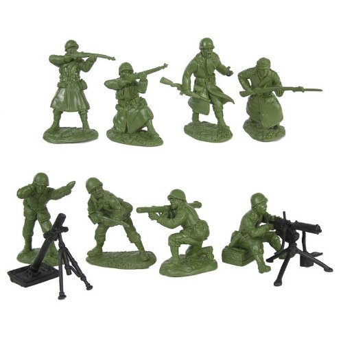 Buy Low Price TSSD WWII US Army Infantry Fire Support Plastic Green Army Men: 16 piece set of 54mm Figures – 1:32 scale (B002ZZUX8C)