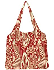 Snoogg Floral Red And White Womens Jhola Shape Tote Bag