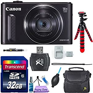 Canon PowerShot SX610 HS Digital Camera (Black) - Wi-Fi Enabled w/ 8pc Accessory Bundle