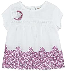 Infant Girls Blouse With Panel Print, White (9-12 Months)