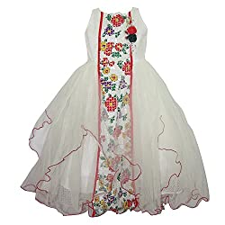 Chokree White Color Party Wear Dress/Frock for girl