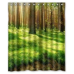 Green Forest Sunshine Mildew Resistant Theme Custom Polyester Waterproof Bath Shower