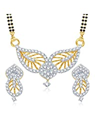 VK Jewels Incredible Leaf Gold And Rhodium Plated Mangalsutra Pendant With Earrings- MP1024G [VKMP1024G]