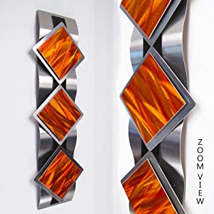 Mystic Reflections Inferno Modern Abstract Metal Wall Art Sculpture Red Orange Painting Home Decor