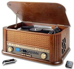 nostalgieanlage mit cd player usb mp3 plattenspieler. Black Bedroom Furniture Sets. Home Design Ideas