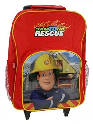 Fireman Sam Rescue Kids Boys Wheeled Trolley Bag Suitcase Cabin Hand Luggage  from Trademark
