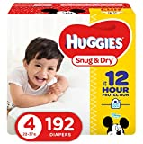 HUGGIES Snug & Dry Baby Diapers, Size 4 (fits 22-37 lbs.), 192 Count, Economy Plus Pack  (Packaging May Vary)