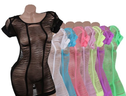 Gogo Kurzarm Netzshirt Top Shirt Sexy Netz Kleid Neon Tank Clubwear R7095