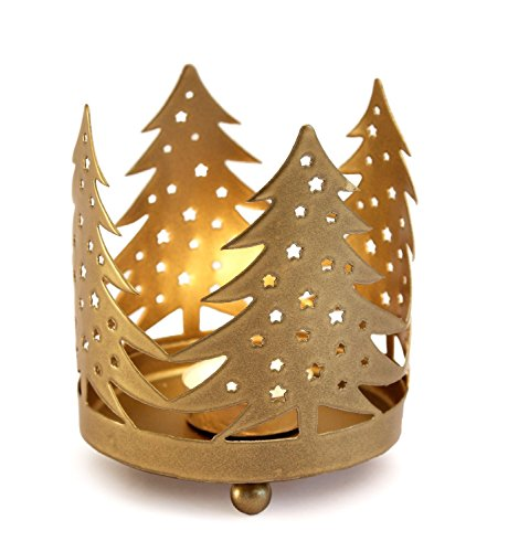 Decorative Christmas Tree Shaped Metal Tea Light Votive Candle Holder With Gold Finish Festive Home Party Decor & Gift Ideas