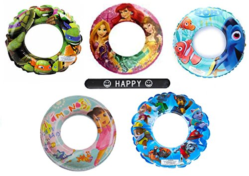 Set of 5 Finding Dory Ninja Turtles Disney Princess Dora Paw Patrol Disney Nickelodeon Character Pool Toys Inflatable Swim Ring Tube Toy for Kids Boys Girls SET OF 5 RINGS with HAPPY Slapstick (Ninja Turtle Barbie compare prices)