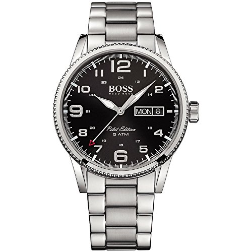 1513327 Watch Hugo boss Men's Pilot Stainless steel case, Stainless steel bracelet, Black dial, Quartz movement, Scratch resistant mineral, Water resistant up to 5 ATM - 50 meters -165 feet - 51iBL1 2B3CuL - 1513327 Watch Hugo boss Men's Pilot Stainless steel case, Stainless steel bracelet, Black dial, Quartz movement, Scratch resistant mineral, Water resistant up to 5 ATM – 50 meters -165 feet
