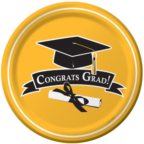 Creative Converting 18 Count Congrats Grad School Color Dessert/Lunch Paper Plates, School Bus Yellow