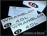 WRANGLER 4.0L TJ LJ Jeep Fender Decals 1997-2006 Sticker Kit METALLIC SILVER by Underground Designs