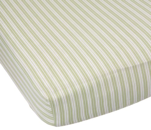 Carter's Easy Fit Printed Crib Fitted Sheet, Sage Stripe (Discontinued by Manufacturer)