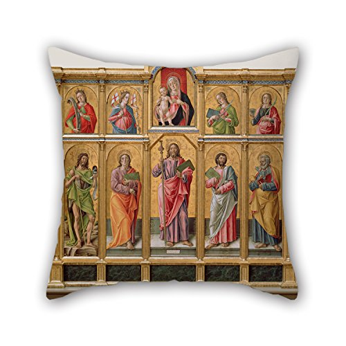 Bestseason 16 X 16 Inches / 40 By 40 Cm Oil Painting Bartolomeo Vivarini (Italian (Venetian) - Polyptych With Saint James Major, Madonna And Child, And Saints Cushion Cases,twice Sides Is Fit For S (Italian Puss compare prices)
