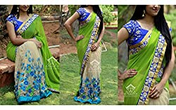 designer saree with embrodery work