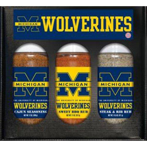 Michigan Wolverines Ncaa Boxed Set Of 3 (Cajun Seas,Stk/Rib Rub, BBQ Rub)