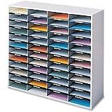 Fellowes 25081 Literature Organizer, Laminate Shell, 48 Letter Size Compartments, Dove Gray