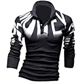 jeansian Men's Fashion Polo Shirts Casual T Shirt Long Sleeves Slim Fit Top Tee Collar Print Cotton 7403