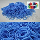 BlueDot Trading 600-Piece Do-It-Yourself Bracelet Kit Refill Pack, Includes Rubber Band and S-Clips for Loom Art/Kids Craft with Rainbow, Light Blue