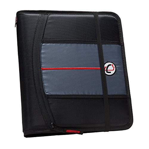 Case-it 1-Inch Ring Zipper Binder, Black (SLIM-621-FN-Blk