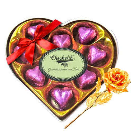 Echos Of Love Chocolate Box With 24k Gold Plated Rose - Chocholik Luxury Chocolates