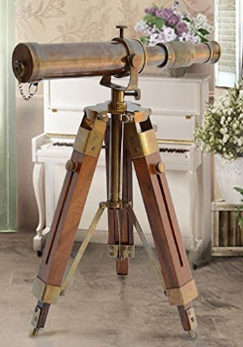 Nautical Brass Antique Telescope Spyglass With Wooden Stand Home Decor Gift 0