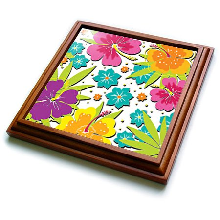 trv_167123_1 Spiritual Awakenings-Flowers - Collage of cut our flower art Hibiscus and accents very pretty - Trivets - 8x8 Trivet with 6x6 ceramic tile