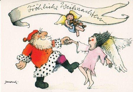 Janosch WeihnachtsPOSTkarte Weihnachtsmann tanzt mit Engel